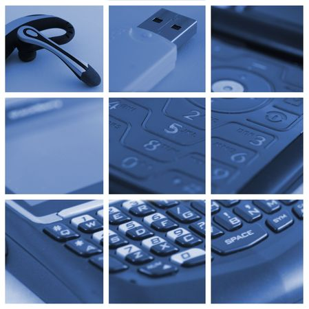 collage of technological and communication devices used in business - 3X3 Stock Photo