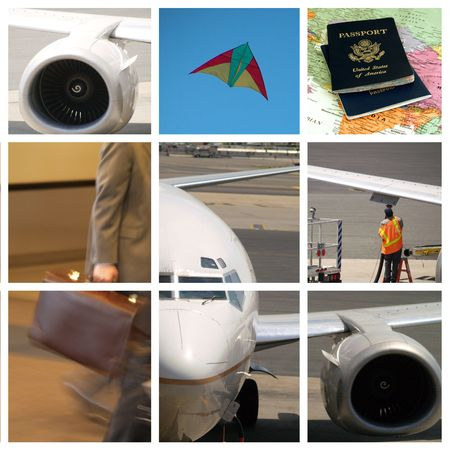 Business travel collage 3x3 Stock Photo