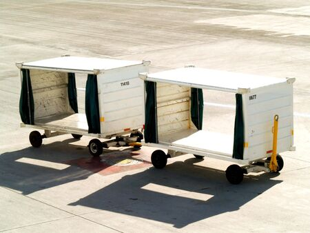 carts used for transporting luggage at airport