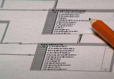 Image of Database layout and pencil - database design plan 1