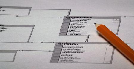 schema: Image of Database layout and pencil - database design plan 2 Stock Photo