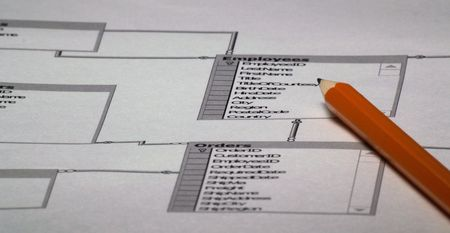 Image of Database layout and pencil - database design plan 2 Stock Photo