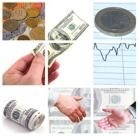 Collage of money bills and coins - small