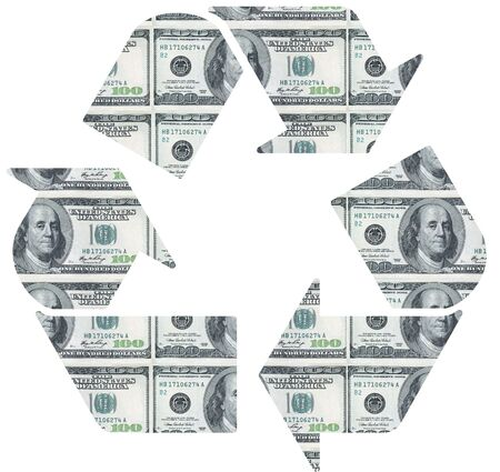 Recycle symbol on dollar bill background Stock Photo