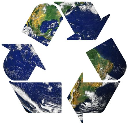 Recycle symbol on earth background