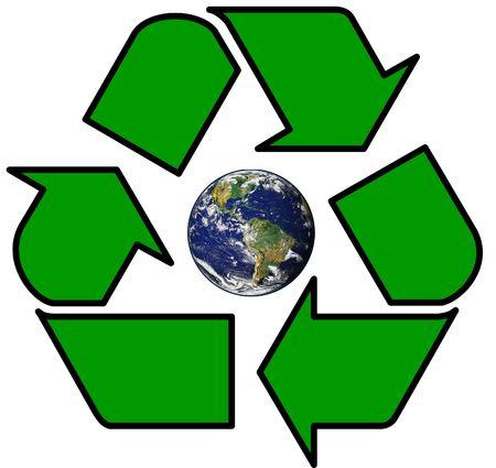 グリーン リサイクル シンボル内の地球 写真素材
