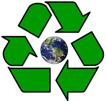 Earth inside Green Recycle symbol