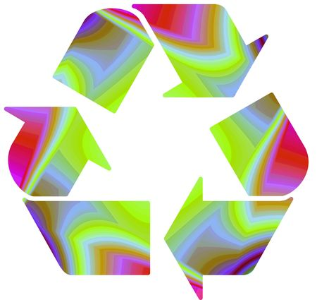 Recycle symbol on funky rainbow background Stock Photo