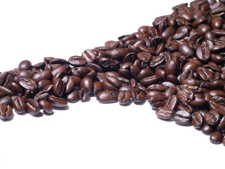 Background image of roasted coffee beans line Stock Photo