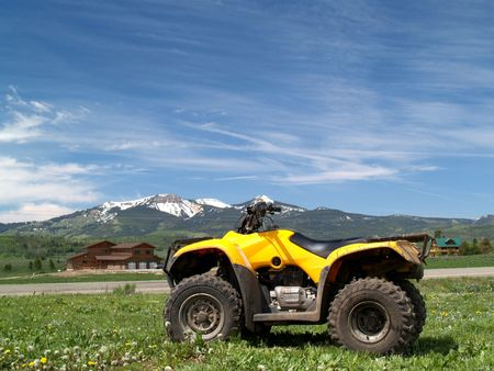 Picture of ATV on mountain background