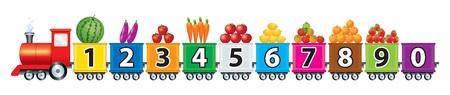 Ein Zug mit Zahlen, Obst und Gemüse sowie bunten Blöcken ist für Kinder besonders attraktiv, wenn man ihn in der Schule als Sehhilfe nutzt. Vektorgrafik