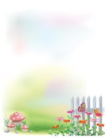 Un fond de jardin mignon et coloré pour poème, lettre d'amour.