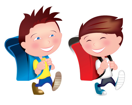 Two kids young boys who are best friends are so happy walking on the street from home, having fun, laughing on their way going to school. Vector Illustration