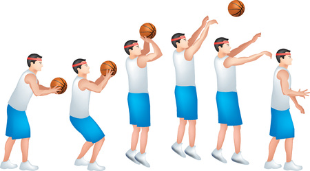 An Illustration of a male basketball player with an animation steps of shooting a ball. Illustration