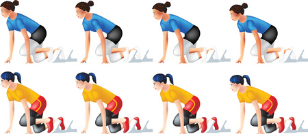 It is a set of vector drawing of a girl in a ready to run post. it is a breathing animation steps.
