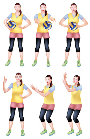An Illustration of a girl in a yellow sports attire with an animation steps of catching, throwing, passing and rotating the ball on her finger.