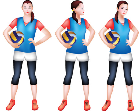 A vector Illustration of a girl Volleyball player posting so confident and proud with a sweet smile.