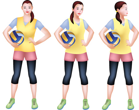 A vector drawing of a girl posting so confident and proud with her yellow sporty attire.
