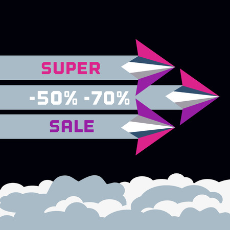 flying paper: Paper planes. Super sale advertisement. Origami flying paper airplanes. Special offer for big sales season. Marketing campaign. Vector illustration Illustration