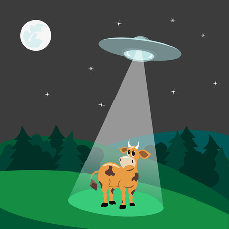 kidnapping: UFO abducts a cow. Flying saucer beam picks up animal from earth planet. Vector Illustration of alien invasion in unidentified spaceship with light Illustration