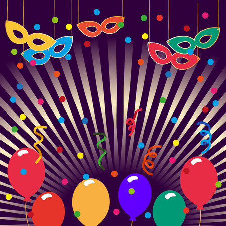Happy Party Poster. Confetti, masks, cute style. Idea for design of kids birthday party, carnival background, decoration, poster to birthday celebration, festival, masquerade. Vector illustration.