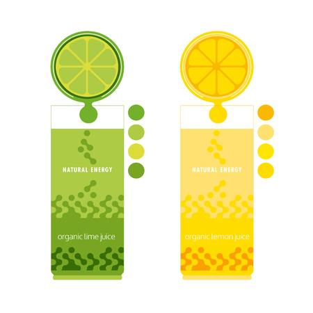 lemon lime: Citrus Fruits. Sliced lemon, lime. Citrus wedges. Fresh natural juice Concept. Organic fruit. Tropical citrus. Natural fruit with vitamin. Lemon, lime juice drop. Vector Illustration