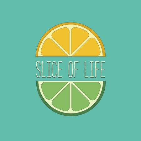 citrus fruits: Citrus Fruits. Famous Quote Slice of life Concept. Lemon, lime wedges Concept. Tropical citrus. Natural fruit. Vector Illustration