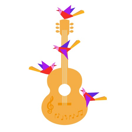 template design poster with acoustic guitar clef notes birds