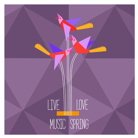 Template Design Poster with acoustic guitar silhouette, clef, notes. Idea for Live Music Festival, music show. Musical Festivals promotion,  advertisement. Vector illustration.