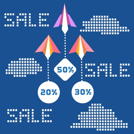flying paper: Paper planes. Travel sales advertisement. Origami flying paper airplanes. Travelling sale poster, discount promotion banner. Special offer for big sales season. Marketing campaign. Vector illustration