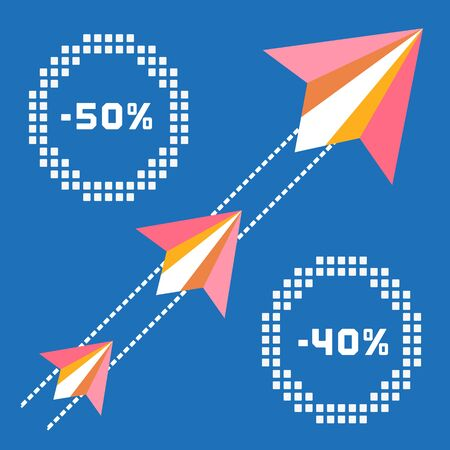 flying paper: Paper planes. Travel sales advertisement. Origami flying paper airplanes. Traveling sale poster, discount promotion banner. Special offer for big sales season. Marketing campaign. Vector illustration