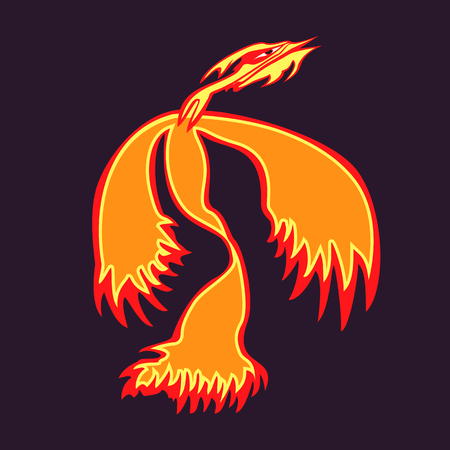 rising: Phoenix bird rising from the ashes.