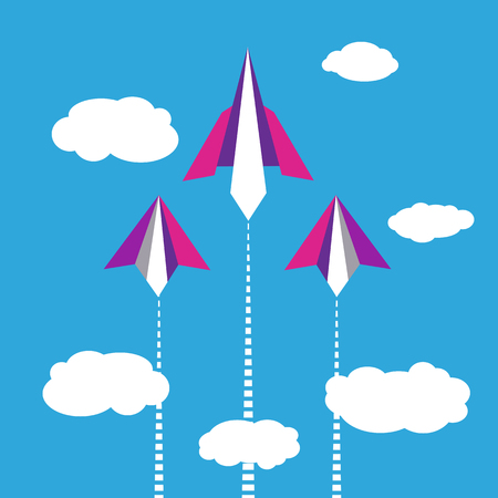 aircraft take off: Paper planes flying in blue sky with clouds. Illustration