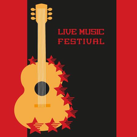 音楽祭のコンセプト。音楽ポスターの背景を住んでいます。アコースティック ギターのシルエットのシンボル。音楽祭、ショー、コンサート、ライ