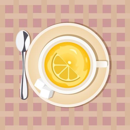 dieting: Tea time concept. Good morning hot drink Concept.  Lemon Tea Cup. Lemon hot drink. Dieting sliced fruit. Citrus drink. Healthy green tea. Vintage decoration. Vector illustration