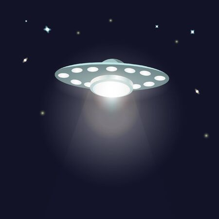 unidentified: UFO ufo with light beam in the night sky with stars. Flying saucer. Illustration of alien unidentified spaceship in universe. Idea for design on theme of galaxy, ufo landing. Vector illustration Illustration