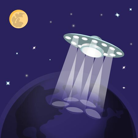 invasion: UFO ufo with light beam, planet earth from space, moon, stars. Flying saucer, Alien Spaceship invasion. UFO landing. Idea theme of galaxy, unidentified spaceship, universe. Vector illustration