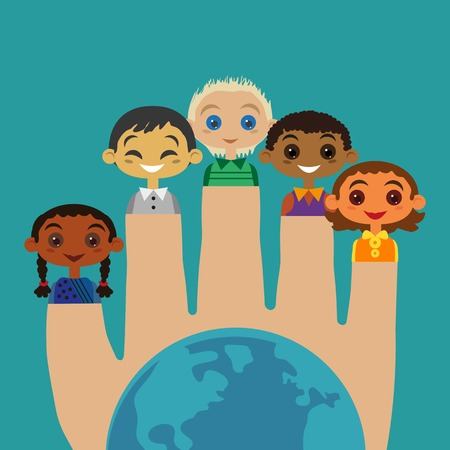 nationalities: Multicultural friendship Concept. United Kids. Unity of different ethnicity, nationalities. Isolated boy, girl. Kids of different nations community. Nations at earth are friends. Vector illustration Illustration