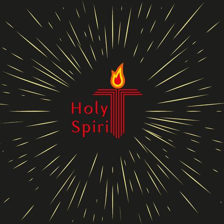 holy  symbol: Trinidad, Domingo de Pentecostés. concepto de vacaciones Cristiano. El espíritu santo Jesús Dios. Iglesia símbolo sacramento. saludo pentecostal. lenguas bíblicas de bomberos, cruz, paloma del Espíritu Santo. Ilustración del vector. Vectores