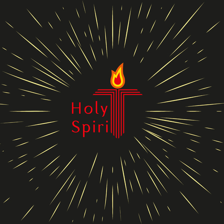 holy god: Trinity, Pentecost Sunday. Christian holiday concept. Holy spirit Jesus God. Church sacrament symbol. Pentecostal greeting. Biblical tongues of fire, cross, holy spirit dove. Vector illustration.