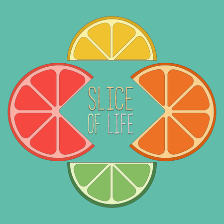 lemon lime: Citrus Fruits. Famous Quote Slice of life Concept. Lemon, lime, orange, grapefruit wedges Concept. Tropical citrus. Natural fruit. Vector Illustration