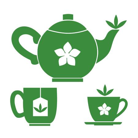 Teapot, tea cups. Jasmine Green tea room logo. Organic hot drink label design. Green tea leaves isolated. Jasmine flower. Herbal Tea room emblem isolated concept. Vector illustration