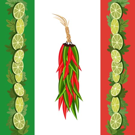 cilantro: Mexican style. Mexican border Concept. Fiesta menu frame. Chili pepper, lime, cilantro. Flag of Mexico colors. Holiday Cinco de Mayo. Party banner background. Vector Illustration Illustration