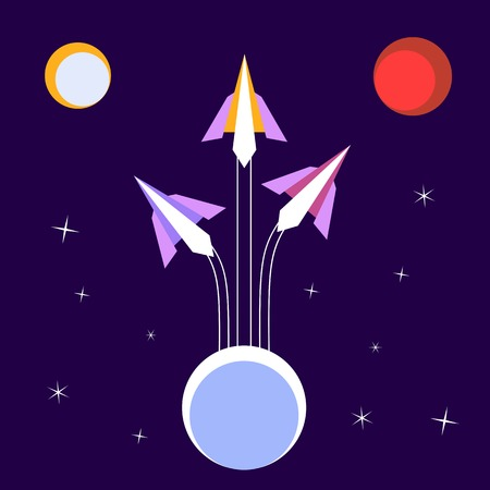 expeditions: Paper Rockets Flight. Vector  Poster Concept of expeditions to solar planets. Illustration of space, moon, planet Mars. Idea for design on theme of cosmos, galaxy, star sky. Vector illustration