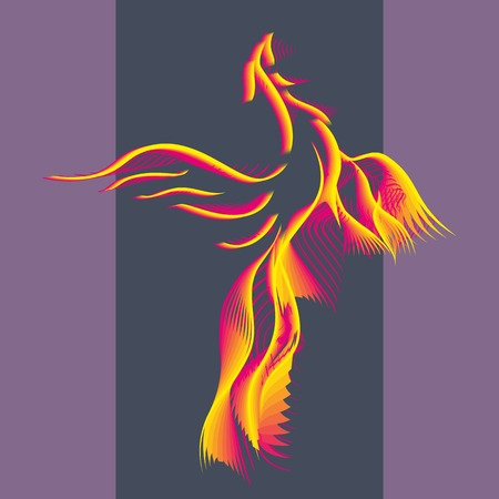 Phoenix bird rising from the ashes. Flaming Magic Fairy Bird.Flying Phoenix as abstract logo, symbol of rebirth. Luxury creative Logotype icon. Vector illustration