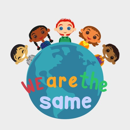 nationalities: Motivated illustration of nations friendship United Kids. Concept of unity different nationalities. Kids of different nations friendship. Different nations are united friends. vector illustration.