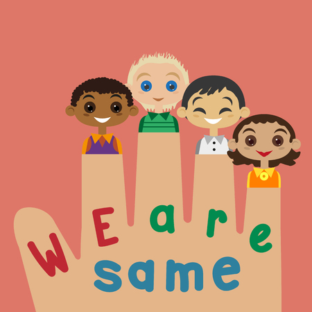 nationalities: Motivated illustration of nations friendship United Kids. Concept of unity different nationalities. Kids of different nations friendship. Different nations are firends. vector illustration. Illustration