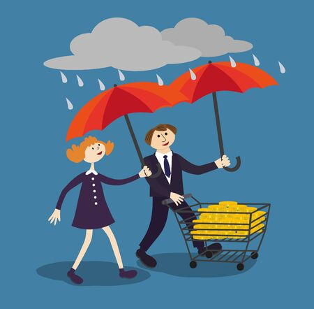 financial managers: Business people hold umbrella to protect money. Financial savings management poster concept. Risk managers protect finance by proper managements umbrella in the rain of risks. Vector Illustration.