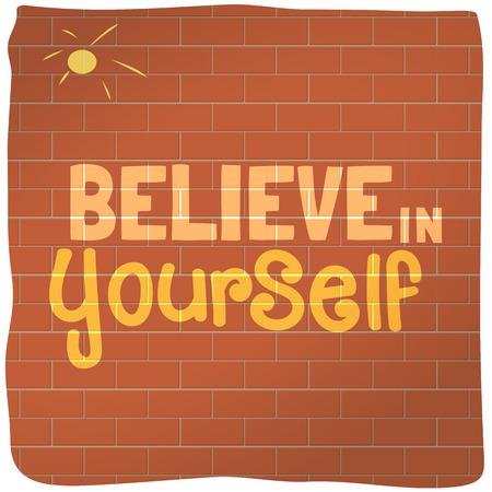 eslogan: Cita motivado por creerte. Fondo del cartel de motivaci�n. Lema vectorial Concepto, tipos de letra. Idea para el dise�o del lema motivado, pancarta con citas, folleto, cartel, icono de la web. Ilustraci�n del vector.
