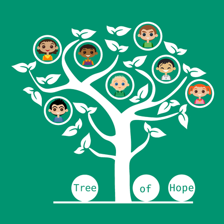 familias unidas: ilustración motivado de amistad de las naciones Unidas para los niños. Concepto de unidad diferentes nacionalidades. Los niños de diferentes naciones amistad. Las diferentes naciones son amigos unidos. ilustración vectorial. Vectores
